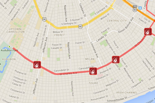 A map of the four stages on St. Charles Avenue during the Rock 'n' Roll Marathon. (via runrocknroll.competitor.com)