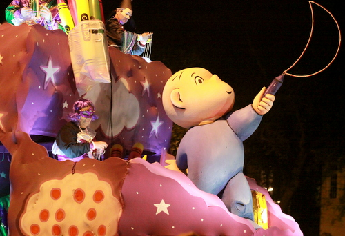 "The ""Harold and the Purple Crayon"" float in the Krewe of Pygmalion. (Robert Morris, UptownMessenger.com)"