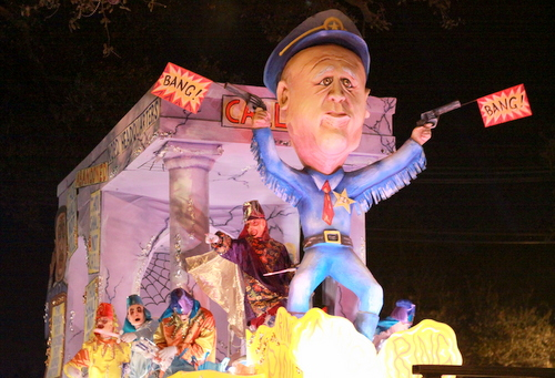 "The Knights of Chaos ""NO P.D."" float mocked the troubles with the city's issues with the police force. (Robert Morris, UptownMessenger.com)"
