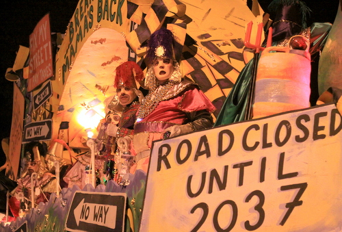 "The ""Drive on a Crack"" float by Le Krewe d'Etat mocked the ongoing road construction around New Orleans. (Robert Morris, UptownMessenger.com)"