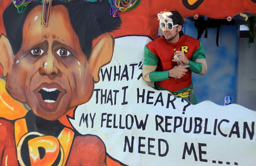 The Krewe of Tucks mocks Gov. Bobby Jindal's presidential aspirations by depicting him as a wannabe superhero. (Robert Morris, UptownMessenger.com)