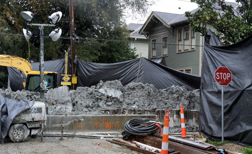 A section of the construction site on Prytania Street, photographed in February 25. (Robert Morris, UptownMessenger.com)