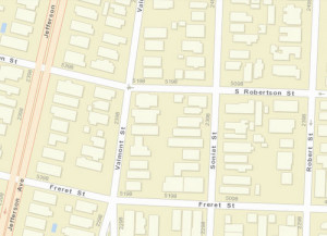 The 5100 block of South Robertson. (map via NOPD)