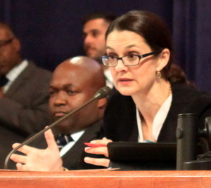 New Orleans City Council president Stacy Head speaks Thursday morning while Councilman Jason Williams listens. (Robert Morris, UptownMessenger.com)