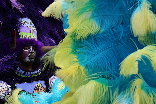 Wild man of the Hard Head Hunters Mardi Gras Indians on LaSalle on Sunday afternoon. (Zach Brien, UptownMessenger.com)