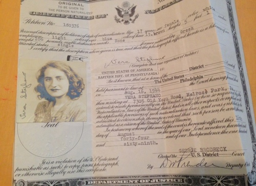 Immigration papers for the author's mother, Vera Columbus. (submitted photo)