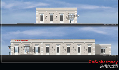 A rendering of the new CVS pharmacy slated for the corner of Louisiana and Magazine. (courtesy of Avery Koontes / Sherman Strategies)