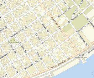 The 500 block of Philip Street is between St. Thomas and Rousseau streets. (map via NOPD)