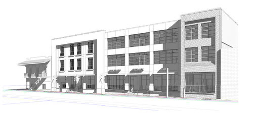 A rendering by Garrity Accardo architects of the redevelopment along Freret near Cadiz. (via nola.gov)