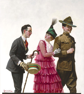 "Norman Rockwell, ""Excuse Me"", 1917, oil on canvas, 28"" high x 25"" wide"