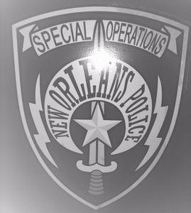 The Special Operations Division crest on the side of its armored vehicle, photographed by a Broadway Street resident during a Saturday night response to a hoax call on her block. (Submitted photo)