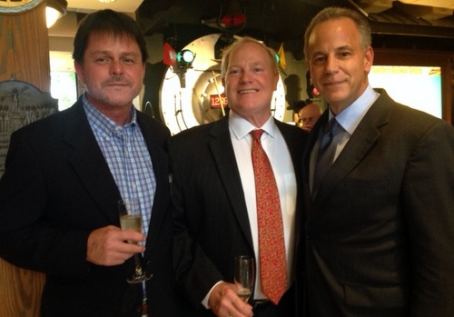 Public Service Commissioner and gubernatorial candidate Scott Angelle (at right) is joined by Phil Nugent (left) and Bob Edmundson at a recent campaign event in New Orleans. (photo by Danae Columbus for UptownMessenger.com)