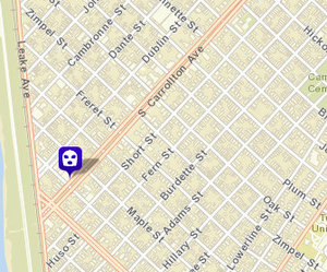 Robbery on South Carrollton. (map via NOPD)