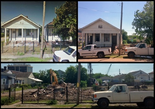 The shotguns in the 2400 block of Cadiz -- before their demolition (top left, via Google Maps), then during and after their demolition (by Jean-Paul Villere for UptownMessenger.com)