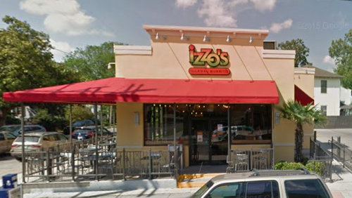 Izzo's Illegal Burrito on Magazine Street (April 2015 photograph by Google Maps)