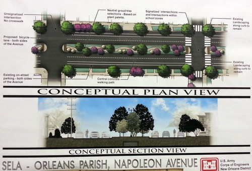 Conceptual designs for the Napoleon Avenue after construction is finished. (image by U.S. Army Corps of Engineers)