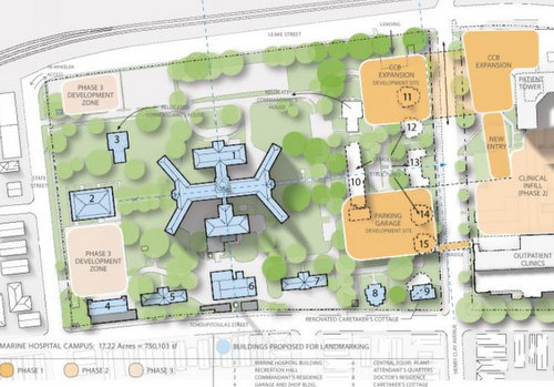The Children's Hospital master plan, with buildings to be saved marked in blue, and new buildings in orange. (via City of New Orleans)