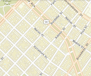 The 2200 block of Adams Street is between Neron Place and Sycamore Street. (map via NOPD)