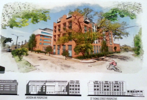 A rendering of the proposed Jackson Oaks development on display Friday morning. (Robert Morris, UptownMessenger.com)
