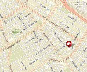 Shooting at South Liberty and St. Andrew. Not pictured: shooting at First and Prieur. (map via NOPD)