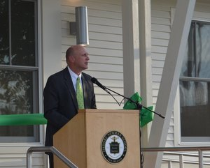 Dale M. Smith, Head of School at Newman, speaks at the ribbon cutting for the Green Trees facility. (via Isidore Newman School)