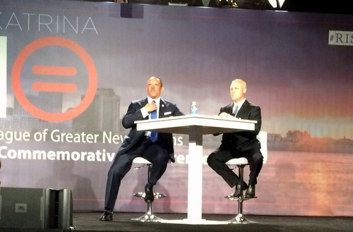 Former Mayor Marc Morial and Mayor Mitch Landrieu discussion the state of New Orleans together. (photo via Danae Columbus)