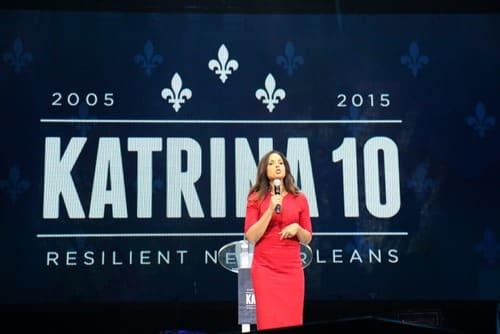 Soledad O'Brien speaks during the Katrina 10 commemoration. (Zach Brien, UptownMessenger.com)