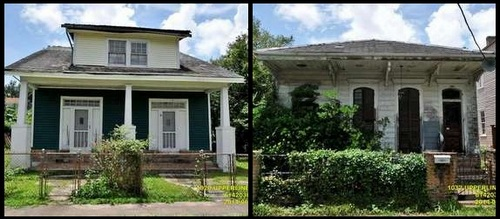 The houses at 1020 and 1032 Upperline Street. (Graphic by UptownMessenger.com, images via nola.gov)