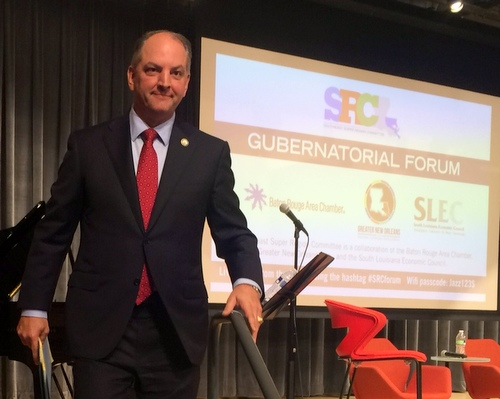 Democratic gubernatorial candidate John Bel Edwards descends from the stage at a recent political forum. (Danae Columbus for UptownMessenger.com)