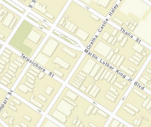 The shooting was reported near Terpsichore and O.C. Haley Boulevard. (map via NOPD)