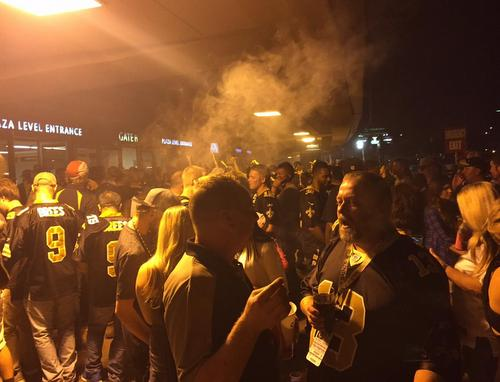 The Super Dome's designated smoking and vaping area during halftime of the Saints-Falcons game on October 15, 2015. (Photo courtesy of Crescent City Vape.)