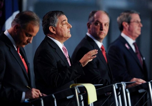 Lt. Gov. Jay Dardenne speaks during a gubernatorial debate as state Rep. John Bel Edwards looks on. Dardenne endorsed Edwards on Thursday morning. (image via Jay Dardenne's Facebook page)