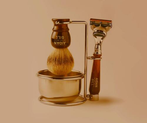 The Aidan Gill For Men badger brush and shave set. (via aidangillformen.com)