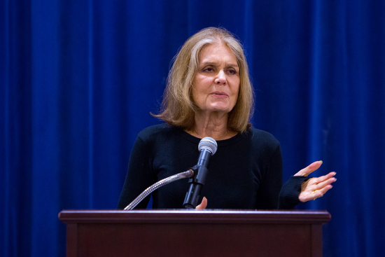 Gloria Steinem speaks at the Jewish Community Center on Sunday afternoon. (Sabree Hill, UptownMessenger.com)