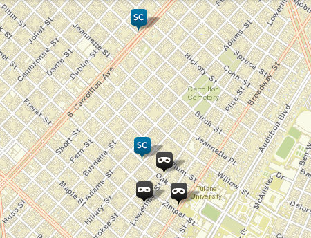 "The ""SC"" icons refer to simple rapes; the gray mask icons represent burglaries. (map via NOPD)"