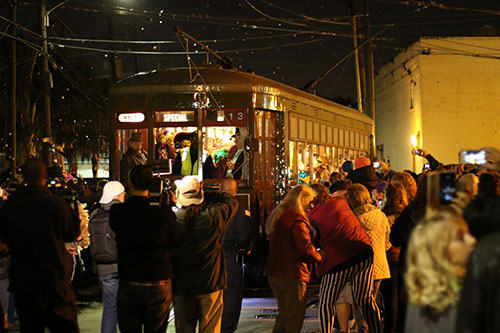 The streetcar carrying the Phunny Phorty Phellows leaves the Willow Street streetcar barn on Thursday night. The event takes place on 12th night, 12 days after Christmas and is the first parade of Carnival season in New Orleans. (Zach Brien, UptownMessenger.com)