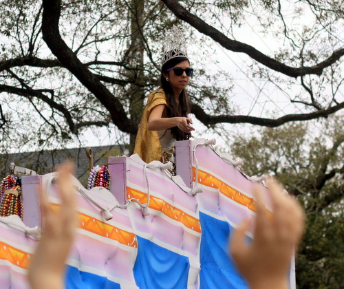Ana Ochoa rides as the queen of the Krewe of Freret parade on Napoleon Avenue. (Robert Morris, UptownMessenger.com)