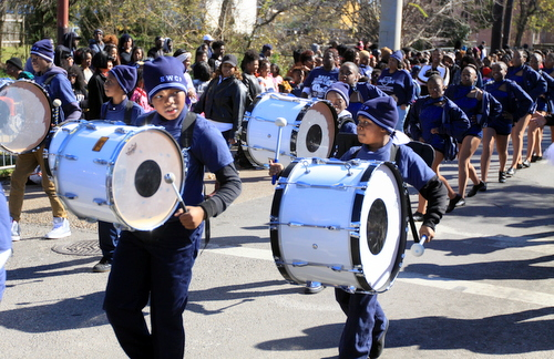 Students from Sylvanie Williams College Prep marching band perform in the 2016 Martin Luther King Day parade. (Robert Morris, UptownMessenger.com)