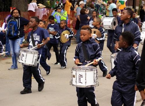 Sylvanie Williams College Prep performs in the Krewe of Freret parade on Napoleon Avenue. (Robert Morris, UptownMessenger.com)
