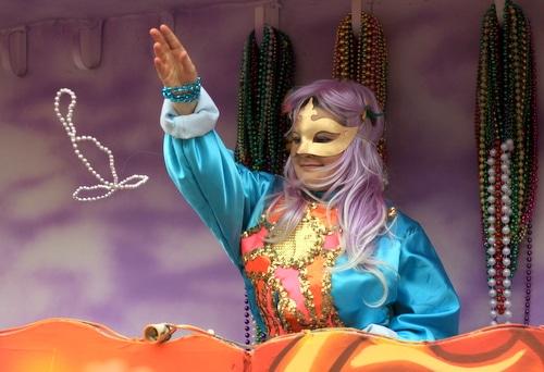 The Krewe of Freret parade rolls on Napoleon Avenue. (Robert Morris, UptownMessenger.com)
