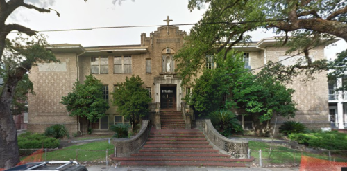 The former Our Lady of Good Counsel School has been proposed to be renovated into a 22-unit apartment building. (photo via City Planning Commission)