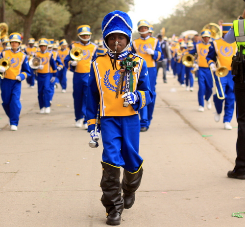 ReNew Cultural Arts Academy marches in the Krewe of Choctaw parade on Napoleon Avenue. (Robert Morris, UptownMessenger.com)