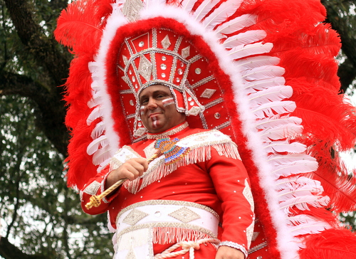 Chief Choctaw in the Krewe of Choctaw parade on Napoleon Avenue. (Robert Morris, UptownMessenger.com)