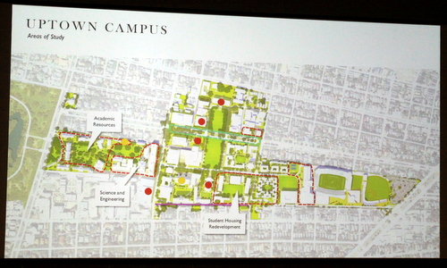A photo of the master plan under consideration during Tulane's presentation Thursday evening. (Robert Morris, UptownMessenger.com)