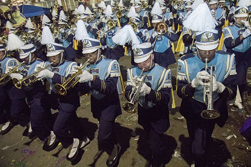 """Southern University Marching Band parades with Bacchus down St. Charles Avenue. Bacchus 2016 rolled with the theme """"Flights of Delight."""" (Zach Brien, UptownMessenger.com)"""