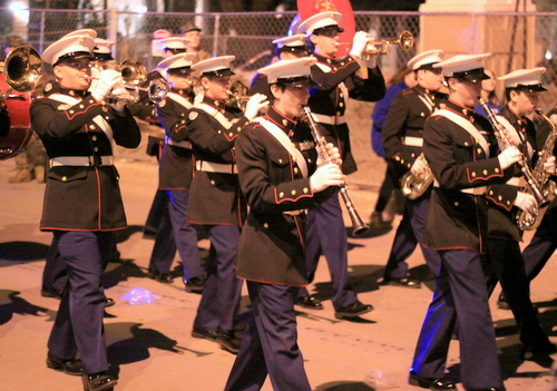 The Jesuit marching band performs as the Krewe of Hermes rolls on Napoleon Avenue. (Robert Morris, UptownMessenger.com)