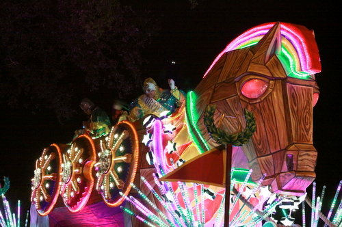 "The Orpheus ""Trojan Horse"" float leads the Krewe up Napoleon Avenue.  (Robert Morris, UptownMessenger.com)"