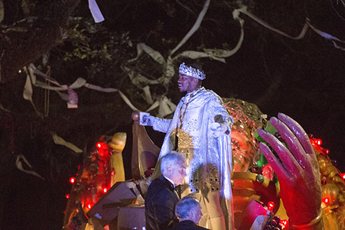 "Actor Anthony Mackie, a New Orleans native, reigned as Bacchus XLVIII. Bacchus 2016 rolled with the theme ""Flights of Delight."" (Zach Brien, UptownMessenger.com)"