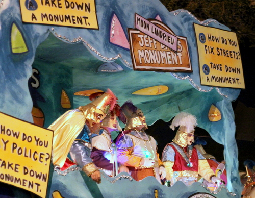 More mockery of the monuments as Le Krewe d'Etat rolls on Napoleon Avenue. (Robert Morris, UptownMessenger.com)