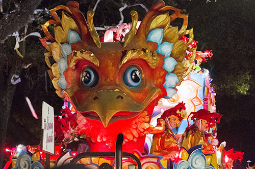 """The Soaring Garuda float rolls down St. Charles avenue. Bacchus 2016 rolled with the theme """"Flights of Delight."""" (Zach Brien, UptownMessenger.com)"""